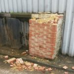 Brick pier damamged by lorry Perivale London